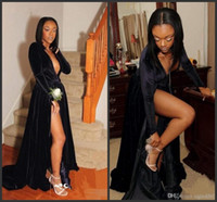 Wholesale hot party african dresses resale online - 2020 New Hot Sexy Deep V Neck Evening Gowns Black Long Sleeves High Split African Prom Dresses Custom Made Cocktail Formal Party Dress