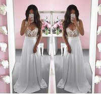 Wholesale Modern White Scoop Prom Dresses A Line Pretty Summer White Lace Long Sleeveless Prom Dress Special Occasion Dresses Evening Gowns