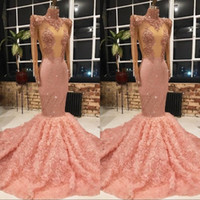 Wholesale peach mermaid evening dresses for sale - Group buy Peach Pink Lace Beads Mermaid Prom Dresses Lace Sheer Neck Illusion Long Sleeves Back Covered Buttons Formal Evening Party Gowns