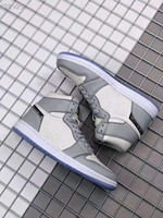 Wholesale grey satin shoes for sale - Group buy with Box New OG grey white I s men women high basketball shoes outdoor trainers good quality size