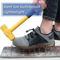 zapatos de seguridad al aire libre al por mayor-Mujeres Hombres Zapatos de seguridad Zapatos de trabajo ligeros Botas con punta de acero Zapatillas de deporte indestructibles Malla deportiva Pista de senderismo para trabajo al aire libre Zapatos transpirables