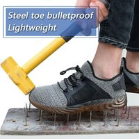 sapatos de segurança ao ar livre venda por atacado-Sapatas de Segurança dos homens das mulheres Sapatos de Trabalho Leve Botas De Dedo Do Pé de Aço Indestrutível Mesh Sneakers Esporte Ao Ar Livre Trabalho Caminhadas Trilha Sapatos Respirável