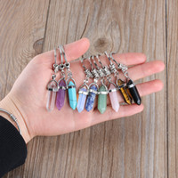 Wholesale prism rings resale online - Hexagonal Prism Natural Stone Pendant Keychain Bullet Crystal Charms Key rings Jewelry Fashion Accessories colors MMA2603