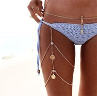 Wholesale coin womens jewelry resale online - New Trendy Womens Leg Chain Coin Tassel Antique Silver Gold Plated Bohemian Style Jewelry Chain Body Chain