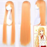 anime girl kostümleri toptan satış-Anime Doma Umaru Sarı Turuncu Peruk Cosplay Kostüm Kızlar Kadınlar Için Umaru-chan Peruk Parti uzun Sentetik Kıllar