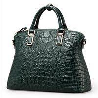ingrosso borsa di coccodrillo genuina verde-Moda all'ingrosso donna di vendita calda 100% pelle genuina verde coccodrillo tote borsa donna / hardware oro borse donna tote 50ZD