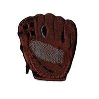 parches deportivos al por mayor-Guante de béisbol personalizado y único, hierro bordado en parche de apliques para ropa deportiva Aplique de regalo de Navidad Marrón 8.2cm