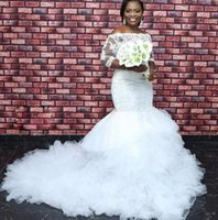 Wholesale custom made wedding dresses nigeria for sale - Group buy Ruffles Cathedral Train Mermaid Wedding Dresses with Long Sleeve Lace Tulle African Nigeria Plus Size Church Wedding Gown