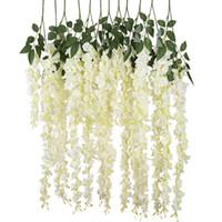 ingrosso viti di seta di glicine per il matrimonio-Decorazione di cerimonia nuziale del fiore d'attaccatura del fiore di seta di Wisteria della vite di NEW-Artificial Silk, 6 pezzi