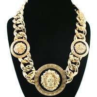 Wholesale lion chain necklace for men for sale - Group buy Hip Hop round Lion Necklace Alloy Gold silver Color Punk Animal Lion Head Pendant Necklace For Men Jewelry