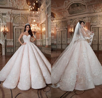 Wholesale white ball gown satin wedding dress resale online - 2019 Blush Pink Queen Wedding Dresses Sweetheart Hard Satin Floor Length Lace Ball Gown Custom Made Quinceanera Gowns