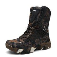 botas de caminhadas marrons homens venda por atacado-Cinza / Marrom Homens Sapatos Ao Ar Livre Exército Sapatos Táticos Do Deserto Botas de Pesca Anti-skid Caça Camuflagem de Inverno Caminhadas