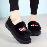 Wholesale women owl shoes resale online - anti skid thicken bottom fur shoes winter women slip on flat moccasins embroider owl hair casual loafers student espadrilles
