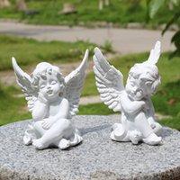 ingrosso ornamento angelo d'oro-Resina europea Oro bianco Carino Cupido Angelo Decorazione Artigianato Desktop Ornamento Regalo di nozze di Natale Figure creative Q190525