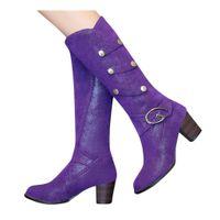 botas de invierno púrpura para mujer al por mayor-Invierno caliente de la piel de la rodilla botas de alto de nieve de las mujeres patea los tacones altos de la cremallera lateral zapatos femeninos Negro Marrón púrpura de gran tamaño # 4