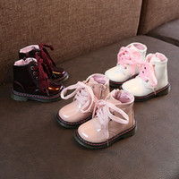 Wholesale kids lace boots resale online - Girls Winter Snow Boots Waterproof Flat With Booties Girls Short Boots Kids Winter Lace Up Keep Warm Shoes