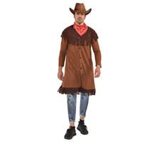 hint halloween kostümleri toptan satış-Eşarp Tasarımcı Jacket ile Kızılderililer Kovboy Erkek Tema Kostüm Halloween ve Fanny Elbise Parti Cosplay Giyim