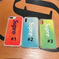 letras luminosas venda por atacado-Quicksand supre ff letras caso de telefone celular para o iphone 6 6 s 7 8 plus xs xs xr xsmax tpu tampa do telefone luminoso líquido casos i6g-max novo b72302