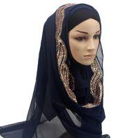 brilho xale muçulmano venda por atacado-1 pc Cor sólida Feminina shinny Lantejoulas GLITTER seda chiffon xales populares silencioso headband hijab verão lenços muçulmanos / cachecol