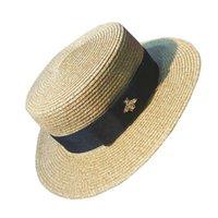 chapéus de palha venda por atacado-Chapéu de Palha De Abelha Chapéu de Abelha de ouro Vintage Moda Aba Larga Chapéu de Sol Chapéu Plana Primavera e Verão Cap Viagem