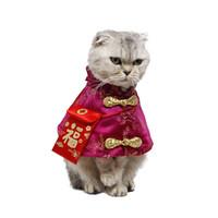 kırmızı kedi kostümleri toptan satış-Yüksek Kaliteli Pet Kedi Çin Tang Kostüm Yeni Yıl Giysileri ile Kırmızı Cep Şenlikli Pelerin Sonbahar Kış Sıcak Kıyafetler Kediler Köpek için