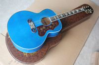 Factory Custom 43 inch Blue Body Acoustic guitar with Bone nut saddle,Rosewood fingerboard,Can be customized