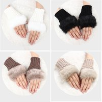 Wholesale faux fur winter arm gloves for sale - Group buy 2018 Winter Women Gloves Warmer Stylish Gloves Knitting Faux Wool Mitten Fingerless Fur Arm Wrist Femme Gift