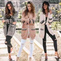 ingrosso lana outwear-Cardigan in maglia da donna Feminino Cardigan da donna caldo Boho aperto anteriore manica lunga in lana cardigan maglione cappotto outwear LJJA3044