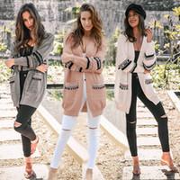frau wollmantel großhandel-Frauen Strickjacke Feminino Weibliche Strickjacken warme Boho Open Front Langarm Wolle Strickjacke Mantel outwear LJJA3044