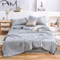 Wholesale blue grey bedding set resale online - 2019 INS Nordic Grey White Lines Bedding Set Wash Microfiber Polyester Summer Quilt Bedlinens Bedsheet Pillowcases