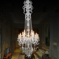 Wholesale modern candle chandelier lights for sale - Group buy large stair luxury crystal chandelier Fashion staircase chandeliers long K9 crystal Ceiling lamp Hotel Villa candle lighting fixture