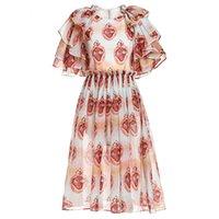 organza estampado floral al por mayor-GoodliShowsi Summer Organza Floral Print Party Vestidos Mujer