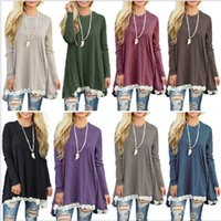 Wholesale casual t shirt tops woman online – design Women Lace T shirts Girl Loose Long Sleeve Shirt Blouse Patchwork Long Lace Dress Round Neck Casual Tees Tops GGA2562
