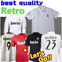 Wholesale ronaldo real madrid jersey for sale - Group buy 11 Real Madrid Retro Home Soccer Jersey Sergio Ramos KAKA RONALDO ZIDANE Beckham RAUL Robinho Long sleeve Football shirt