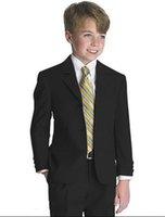 meninos desgaste formal preto venda por atacado-Três botões preto entalhe Lapela Boy's Formal Wear Ocasião Crianças Smoking Ternos da festa de casamento (Jacket + Pants)