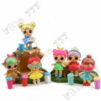 ingrosso bambola del capezzolo-6 bambola lol di stile con bottiglia di bambola per capezzoli di capelli in polvere d'oro giocattolo per bambini PVC Action Figure decorazione bambola 6 pezzi / lotto 8 cm