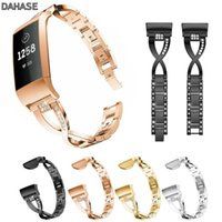 браслеты из хрусталя оптовых- Bling Crystal Watch Band X Link Stainless Steel Metal Bracelets Replacement Adjustable Straps For Fitbit Charge 3 Band