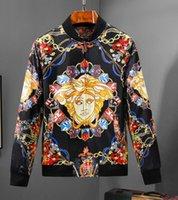 çiçek ceketleri toptan satış-HUY moda yüksek kaliteli erkek spor son çiçek mektup desen fermuar erkek Medusa rahat ceket lüks ceket erkek fermuar
