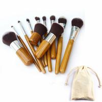 conjunto de pincéis de maquiagem de bambu venda por atacado-Punho de bambu Conjunto de Pincéis de Maquiagem Cosméticos Profissionais kits de Escova Foundation Eyeshadow Brushes Kit Make Up Tools 11 pçs / set RRA744