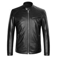gerçek deri motosiklet ceketleri toptan satış-Erkek Gerçek Deri Ceketler Standı Yaka Hakiki Deri Koyun Derisi Motosiklet Biker Ceketler Siyah Deri Giyim Mont Bahar Sonbahar