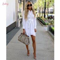damas de viscosa vestidos casuales de verano al por mayor-Vestido blanco mujer de manga larga vestidos de camisa con botones sólido Oficina señoras de la correa suave de manga larga de vestir casual viscosa