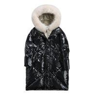 kürk tilki kızı toptan satış-Parlak Kadınlar Beyaz Ördek Aşağı Ceket kızın Kapüşonlu Doğal Fox Kürk Yaka Coat Kış Kadın Aşağı Palto Sıcak kadın Dış Giyim 2019