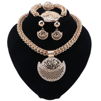 Wholesale new earrings designs resale online - New Fashion Design Women Gold Plated Crystal Crescent Pendant Necklaces Bracelets Earrings Rings Bridal Wedding Jewelry Set