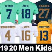 мужские наборы оптовых-футболки Реал Мадрид 19 20 ОПАСНОСТЬ JOVIC MILITAO camiseta de fútbol 2019 2020 VINICIUS JR ASENSIO Третья зеленая футболка мужчины женщины дети дети camisa de futebol