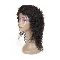 işlenmemiş insan saçlı kıvırcık peruk toptan satış-Dantel Ön Peruk Brezilyalı Işlenmemiş Bakire Jerry Kıvırcık İnsan Saç 4x4 Dantel Peruk Kadınlar için Bebek Saç ile Kadınlar için Tutkalsız Doğal Renk Ücretsiz Bölüm