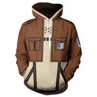 shingeki kyojin sweatshirt toptan satış-Japonya anime Titan hoodie ceket Shingeki hiçbir Kyojin Legion Eren palto kostüm Fermuar Tişörtü Unisex ceket kaban