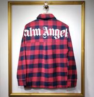korea männerhemd großhandel-2019 neue top Korea hiphop Männer Frauen Palm Angels Langarmhemd Übergroße Lässige Mode Baumwolle Taschen Rot blau Palm Angels shirt