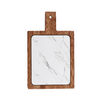 Wholesale bread board resale online - White Marble Texture Cheese Board with Bamboo Tray Rectangular Porcelain Serving Platter for Steak Charcuterie Artisanal Breads