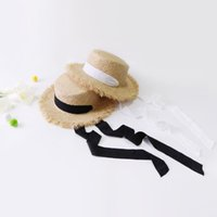 Wholesale black white straw hat men for sale - 2019 fashion new wild hot sale with flat top strap Lafite tie hat casual vacation beach hat summer straw hat