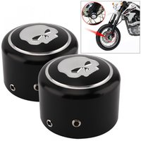 Wholesale Freeshipping Pair CNC Aluminum Motorcycle Front Axle Nut Cover with Skull Pattern and Screws for Harley Sportster XL883 XL1200 X48